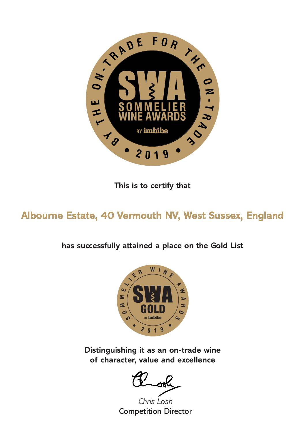 40 Wins Gold Medal at SWA2019